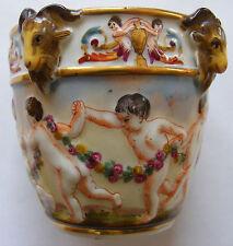 Antique Dresden Vase Cherubs Ram Heads Gold Gilt Crown N Mark