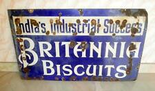 Antique Old Collectible BRITANNIA BISCUITS Porcelain Enamel Sign Board Replica