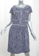 LOVE MOSCHINO Womens Blue Cotton Blend Tweed Crystal Shift Dress 42/6 NEW NWT