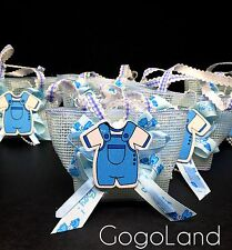 12 Fillable Pouches For Boy Baby Shower Favors Party decorations Blue Baby