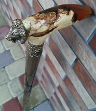 """ AMBER style "" Cane Lion Walking Stick Exclusive Wood Wooden BURL HANDLE NEW"