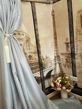 "NEW! Sublime Huge Classic Taffeta Silk Silver Grey 113""D52""W Interlined Curtains"