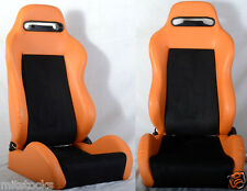 NEW 2 ORANGE & BLACK RACING SEATS RECLINABLE ALL DODGE