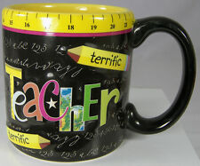 TERRIFIC TEACHER Coffee Mug Cup Blackboard Ruler Pencils FIB Burton & Burton