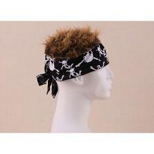 FLAIR HAIR HATS WITH HAIR SKULL BANDANA BROWN HAIR QUALITY PIRATE PARTY FUN