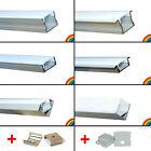 NEU elox. Aluminium Profile + Abdeckung + Clips + Endkappen Alu LED Streifen