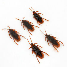 5Pcs Realistic Simulation Rubber Toys Fake Cockroach Roach Scary Bug Halloween