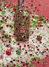 glitter mix nail art acrylic gel Christmas   SANTA'S HOOTERS