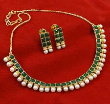 Gold Plated Traditional Indian Jewelry Ethnic Designer Necklace Earrings Set
