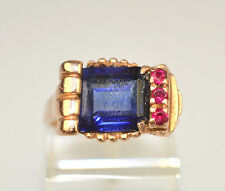 ANTIQUE 14K ROSE GOLD SIMULATED BLUE SAPPHIRE & RUBY RETRO ART DECO RING SIZE 6