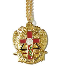Scottish Rite Pendant w/ chain. Gold Tone Masonic Eagle Red Cross Rose
