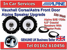 Vauxhall Astra H Corsa C D Zafira Front Door Alpine Speaker Upgrade Kit 220W