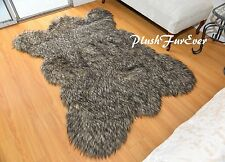 2' x 3' Small Black Tip Coyote Bearskin Area Rug Accents Faux Fur Throw Rug