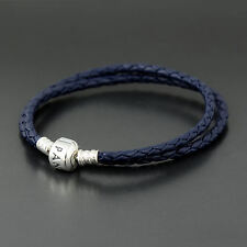 Authentic Pandora Dark Blue Leather Bracelet Double 41cm - 590705CDB-D3