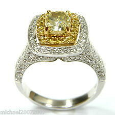 Cushion Cut Fancy Yellow Color Diamond Engagement Ring 2.43ct VS1 100% Natural