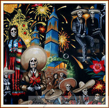 BonEful Fabric FQ Cotton Mexican L Skeleton Skull City Guitar Music Party Fiesta