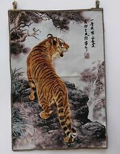 Tibet Collectable Silk Hand Painted  Painting Tiger Thangka   TK46