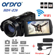 "ORDRO 1080P HD Digital Video Camera Camcorder 24MP 16 × 3.0 ""LCD con microfono"