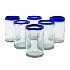 Hand Blown Glasses Tumblers Clear Set of 6 Blue Rim 'Classic' NOVICA Mexico