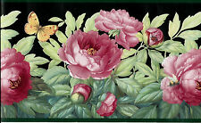 PINK PEONIES AND BUTTERFLIES ON BLACK WITH GREEN TRIM WALLPAPER BORDER