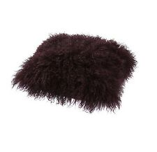 Shaggy Mongolian Sheep Hair Faux Fur, Purple Fig, Square Scatter Cushion 38cm