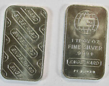 Vintage 1981 Engelhard 1 Oz Globe Silver Bar With Wide E Centered in Globe