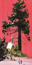 Vintge XMAS Card MCM MODERNIST ART Church In The Pines KOZLOW California Artists