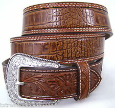 NOCONA belts men's western accessories gator tooled BROWN LEATHER BELT 36 NWT!