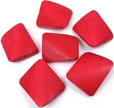 35x30mm Wavy Rectangle Wood Pendant Focal Beads (6) - Red