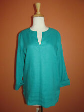 New Ralph Lauren Size M Bright Turquoise Blue Roll Sleeve Linen Tunic Top
