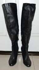Guess Boots Over the Knee 9M Zipper Black Leather Womens Heel Tall