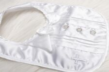 KEEPSAKE Infant Baby Boys Christening BIB White Bow with BUTTONS NWT