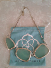 Kendra Scott Chalcedony Green Galeana Bib Statement Necklace Rare HTF