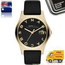 NEW MARC BY MARC JACOBS WATCH THE SLIM GOLD TONE BLACK LEATHER STRAP MBM1357