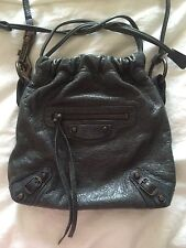 HTF BALENCIAGA~MOVE ON~BAG RHW ANTHRACITE GRAY AGNEAU LEATHER HANDBAG