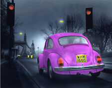Photographic poster of old style VW beetle/ Hammersmith