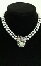 VINTAGE MIRIAM HASKELL Aurora Borealis Beads & Pearls Necklace/Matching Earrings