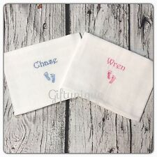 Personalised Embroidery Baby Muslin Cloth Wash Face Burp Gift Boy Girl Footprint