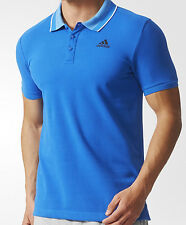 SIZE SMALL - ADIDAS SPORT ESSENTIAL BUTTON UP POLO NECK COLLAR T SHIRT - BLUE