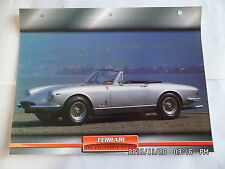 CARTE FICHE VOITURES D'EXCEPTION FERRARI 365 CALIFORNIA SPIDER