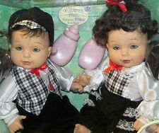 Playmate Baby So Beautiful Twin Babies Boy and Girl Brunette NRFB