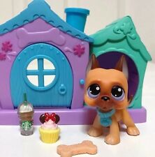 Littlest Pet Shop Dog Lot LPS Brown Great Dane #244 Puppy Doghouse Accessories