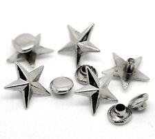 5x silberfarbene Nieten Ziernieten Schmucknieten Spikes Sterne 14x13mm