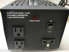 NEW 800 Watt UK Style Voltage Converter Transformer w/3 Outlets 110v 220v