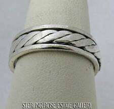 SPINNING MEN'S UNISEX Sterling Silver Estate BRAIDED BAND RING size 9 FREE SHIP
