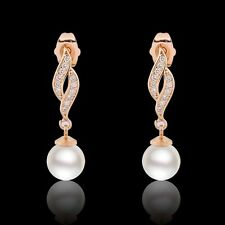 Graceful pearl antique 18k gold filled Eternity smart Swarovski crystal earring