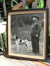 1900s Framed Photo Armed Military Man & POLICE Hound Dog~European? WWII Era? Vtg