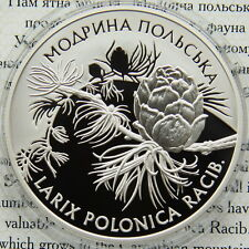 Ukraine 10 UAH 2001 PROOF 1 OZ Silver COA  Polish Larch (Larix Polonica Racib)