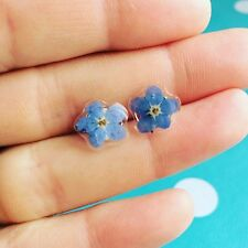 FORGET ME NOT EARRINGS -  Sterling Silver Real Flowers Garden Blue Pressed Dried