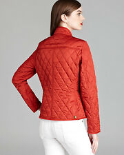 NWT BURBERRY BRIT WOMENS RED QUILTED CHECK COAT JACKET SZ MEDIUM